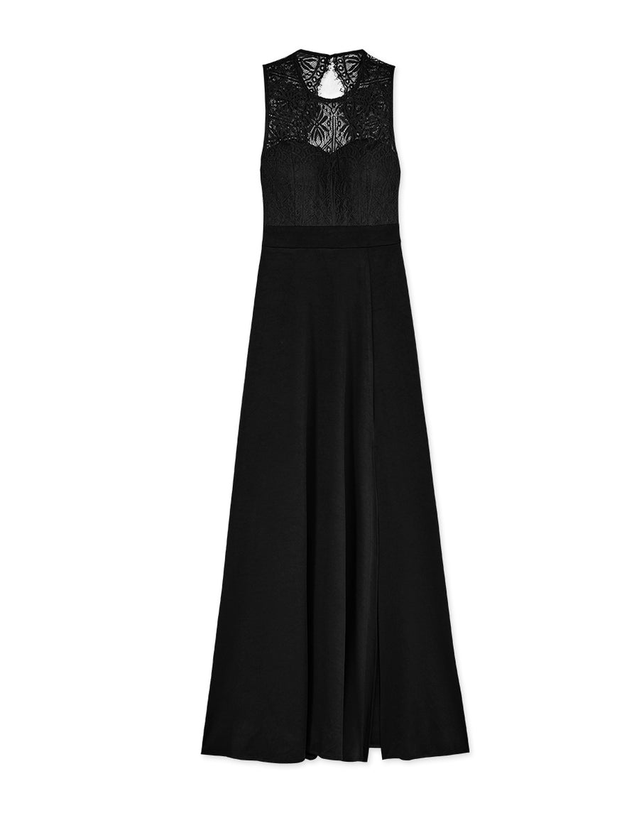 Elegant Lace Bare Back Slit Maxi Dress (with Padding)
