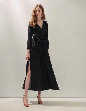 V-Neck Lace Trim Slit Chiffon Maxi Dress