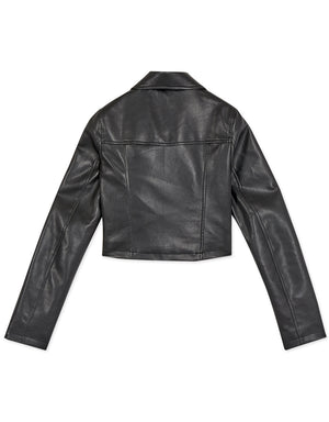 Lapel Collar Leather Jacket