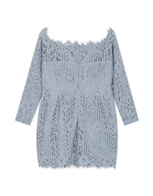 Eyelash Lace Off Shoulder Long Sleeve Dress (with Padding)