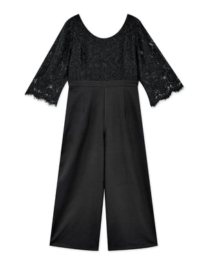 Round Neck Lace Splice 3/4 Sleeve Jumpsuit