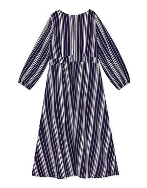 V-Neck Striped Buttoned Ribbon Slit Dress