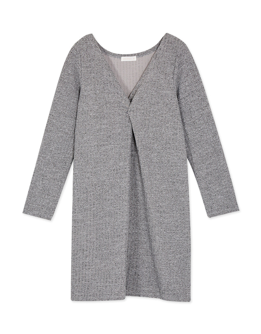 V-Neck Twist-Front Long Sleeve Knitted Dress