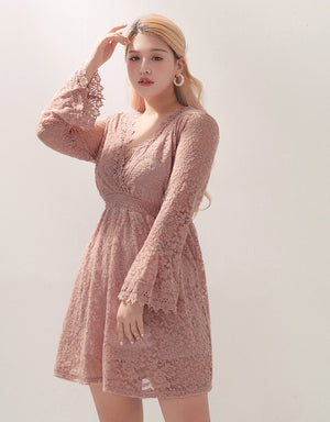 Full Jacquard Lace Long Sleeve Dress
