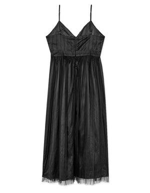 Thin Strap Mesh Bare Back Maxi Dress (with Padding)