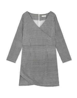 Wrap V Neck Plaid Dress