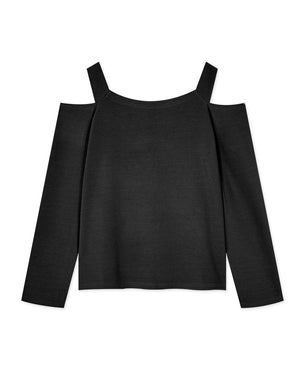 Square Neck Cut Out Shoulder Long Sleeve Knitted Top