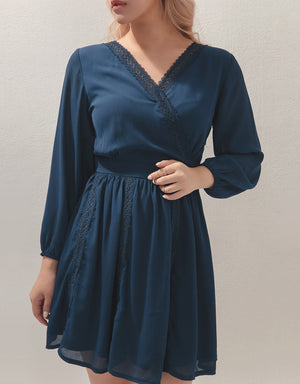 Lace Trim V-Neck Long Sleeve Chiffon Dress