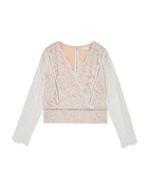 Romantic V-Neck Eyelash Lace Long Sleeve Top