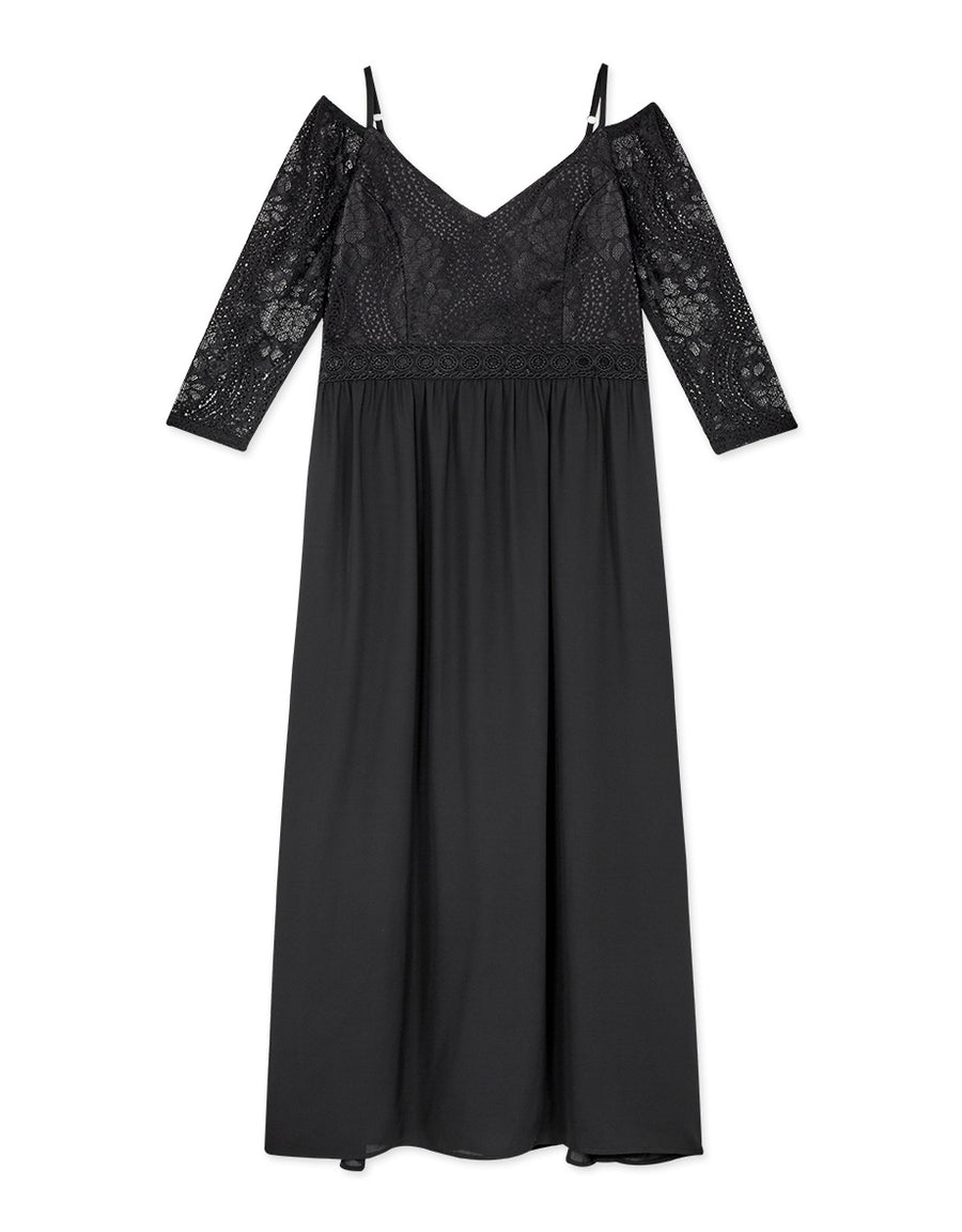 Lace Splice Chiffon Cold Shoulder Maxi Dress (with Padding)