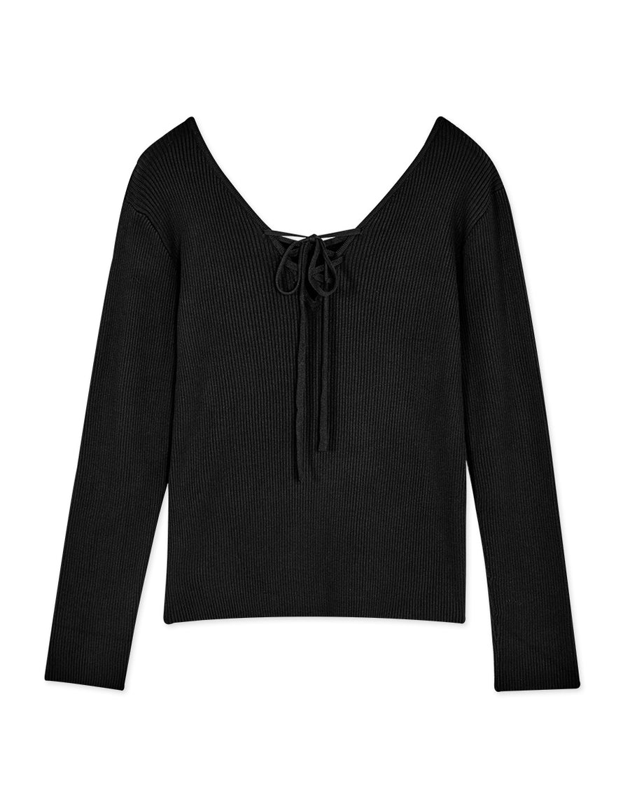 2Way Lace Up Ribbed Long Sleeve Knitted Top