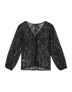 V-Neck Jacquard Lace Transparent Button Up Top