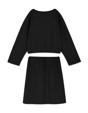 Round Neck Ribbed Crop Long Sleeve Top & Skirt Set Wear