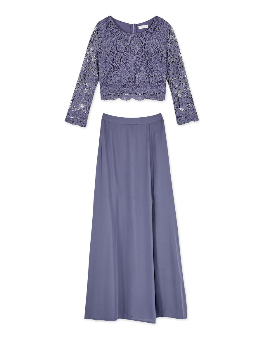 Romantic Lace Top Slit Chiffon Skirt Set Wear