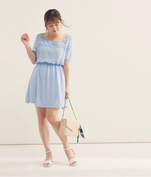 Lace Square Neck Mini Chiffon Dress