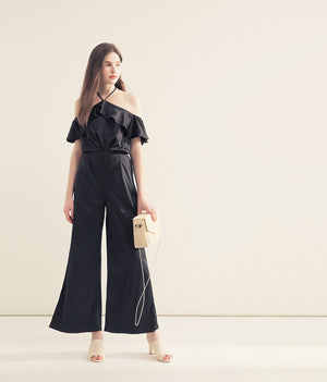 CHIAO Ruffle Satin Split Jumpsuit