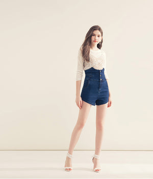 CHIAO High waisted Denim Shorts