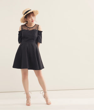 Lace Splice Cold Shoulder Flare Dress