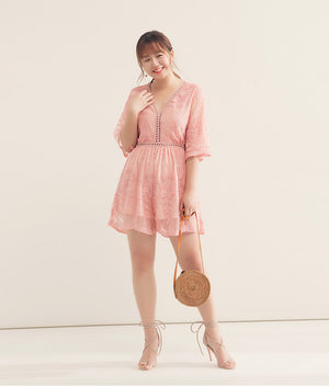Y Neck Hollow Lace Playsuit