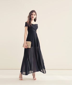 Cross Neck Off Shoulder Split Long Dress