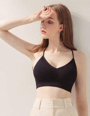 Comfy Thin Strap V-Neck Cross Back Bralette (with Detachable Padding)