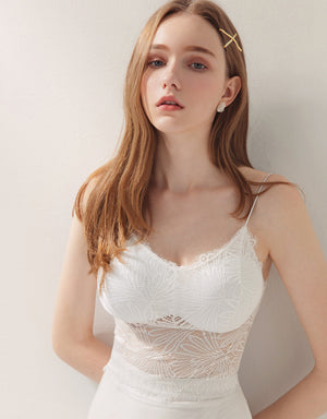 Thin Strap Transparent Lace Trim Bralette (with Detachable Padding)