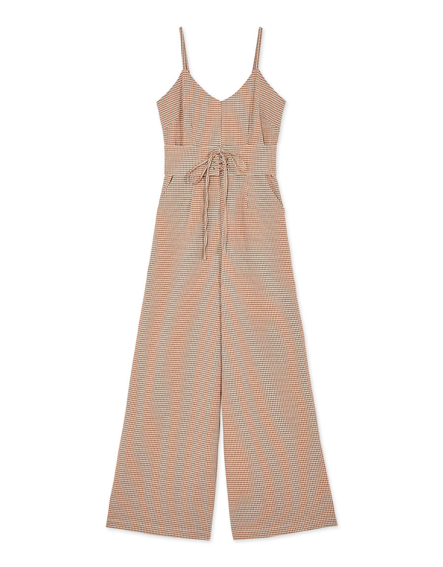 Gingham Cinched Waist Ribbon Jumpsuit