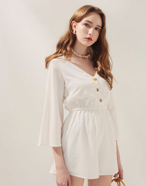 V-Neck Button Up Wide Sleeve Cinched Waist Playsuit