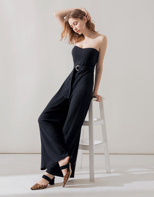 Sleek Bustier Knitted Jumpsuit (with Padding)