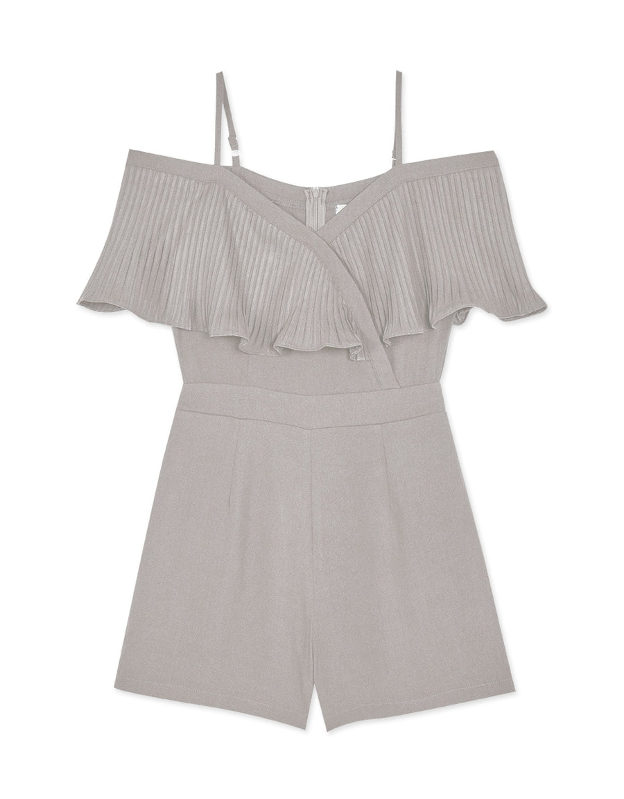 Cold Shoulder Pleated Ruffle Sleeve Playsuit