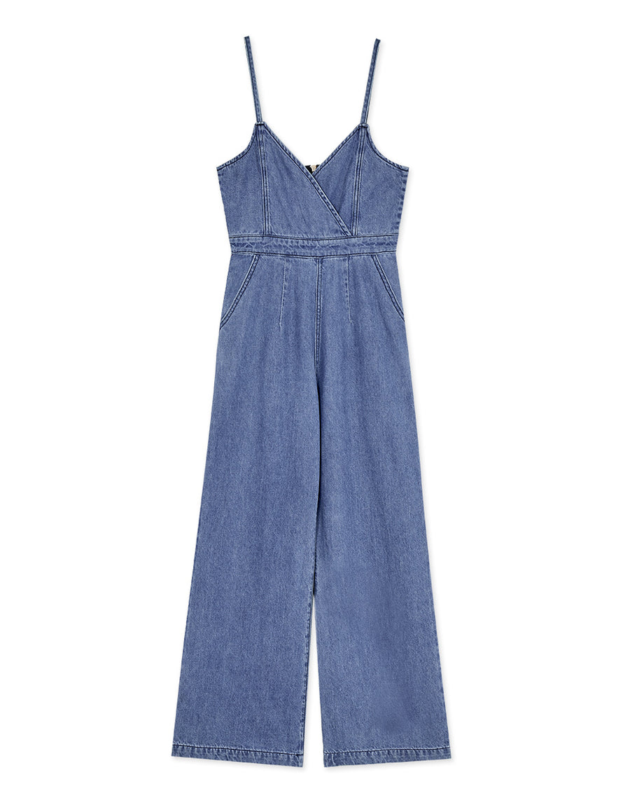 Witty Crossover Cami Denim Jumpsuit