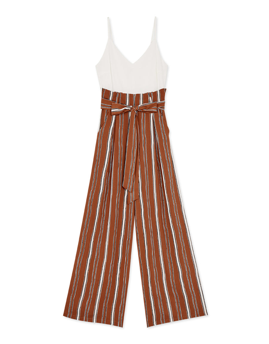 Thin Strap Cami Splice Striped Belted Wide-Leg Jumpsuit