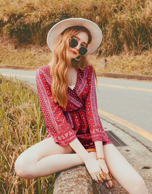 Bohemian Crossover Tassel Ribbon Playsuit