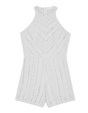Chic Broderie Lace Halter Tank Playsuit