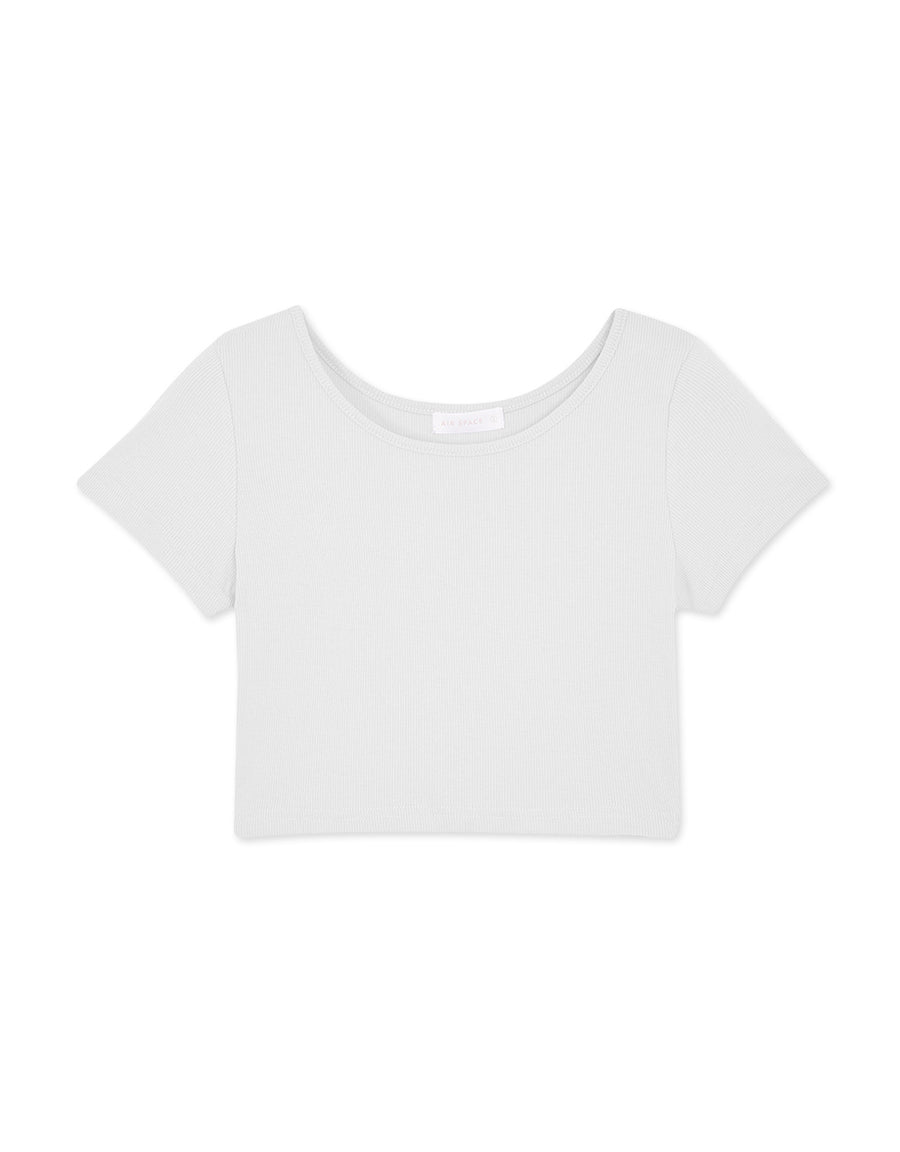 Minimalist Ribbed Round Neck Crop Top