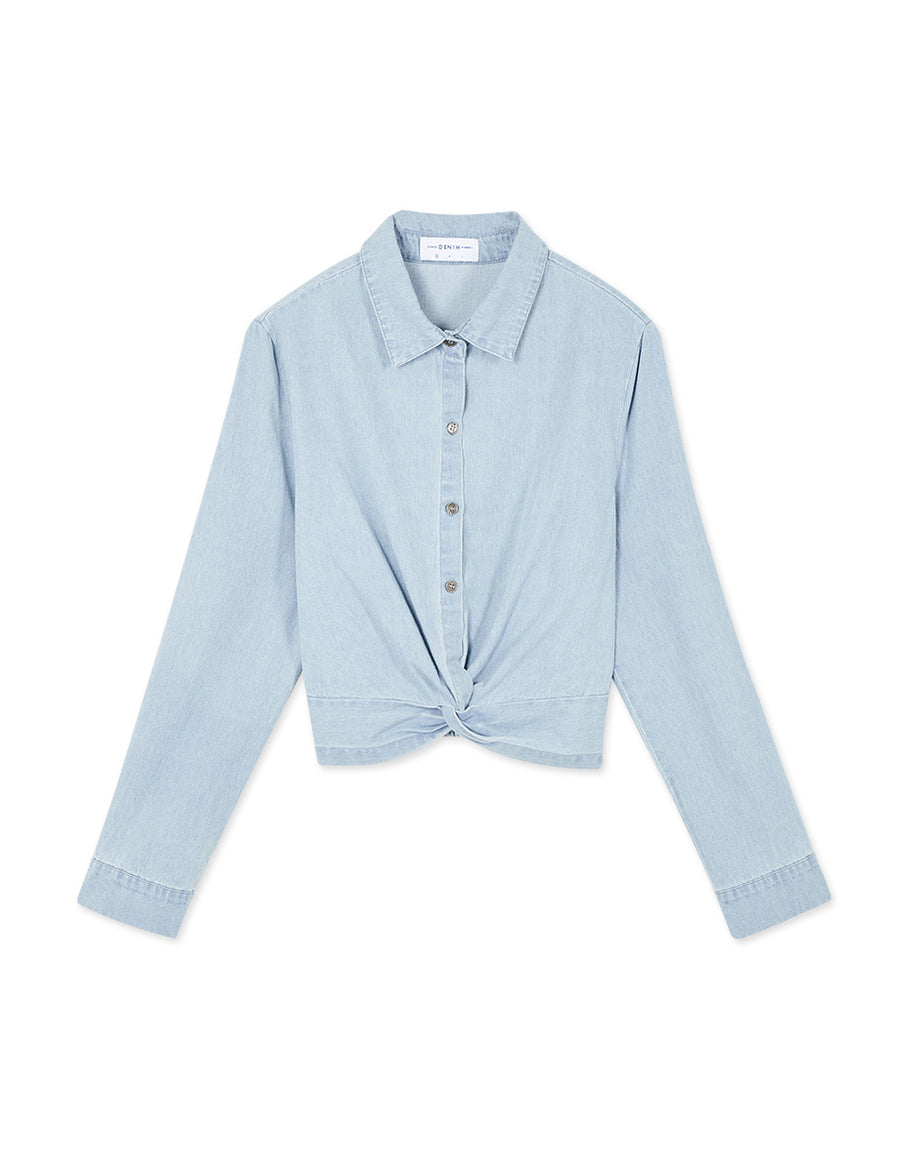 Knot Front Button Denim Blouse