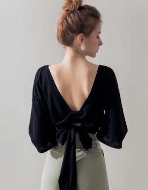 Hollow Back Knotted Ribbon Fluted Sleeve Top