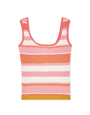 Contrast Colour Button Crop Tank Top