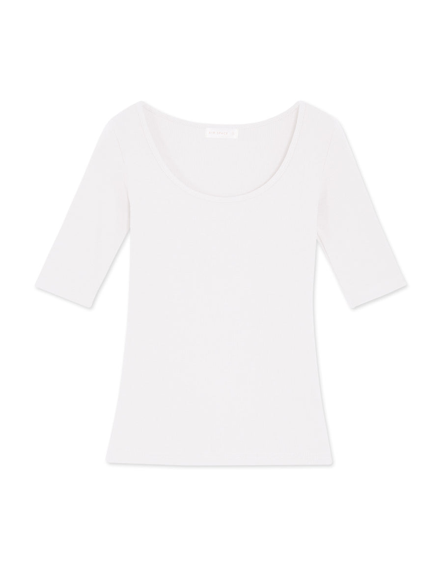 U-Neck Ribbed Elbow Length Sleeve Top