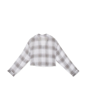 Plaid Crop Long Sleeve Blouse