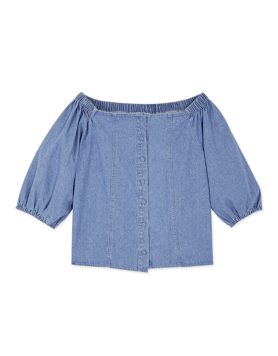 Off Shoulder Button Up Denim Top