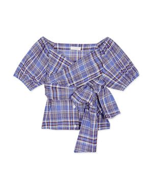 Sweet Tartan Wrap Ribbon Crop Top