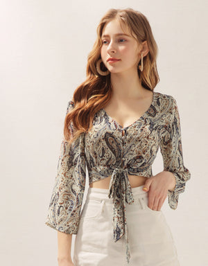 Paisley V-Neck Front Tie Crop Top