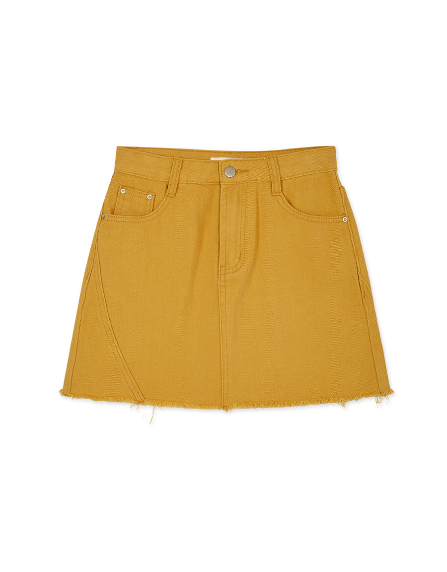 Frayed Hem Slim Fit Skirt