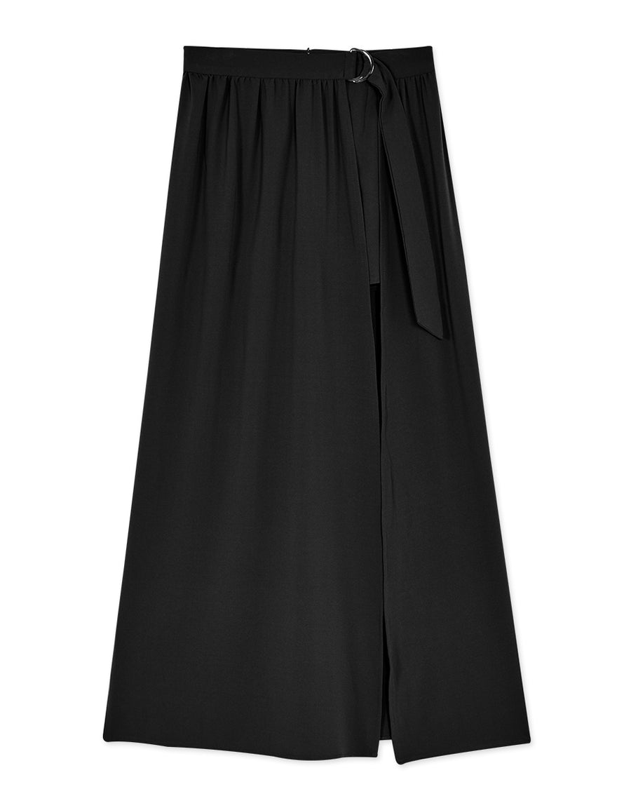 Flowy Belted Shorts with Maxi Skirt Overlay