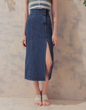 High Waisted Frayed Asymmetrical Slit Denim Skirt