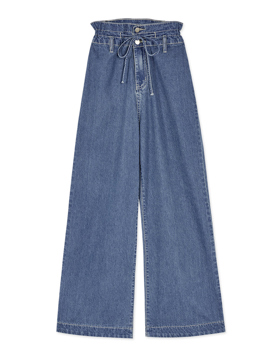High Waisted Scrunched Waist Ribbon Wide-Leg Denim Pants