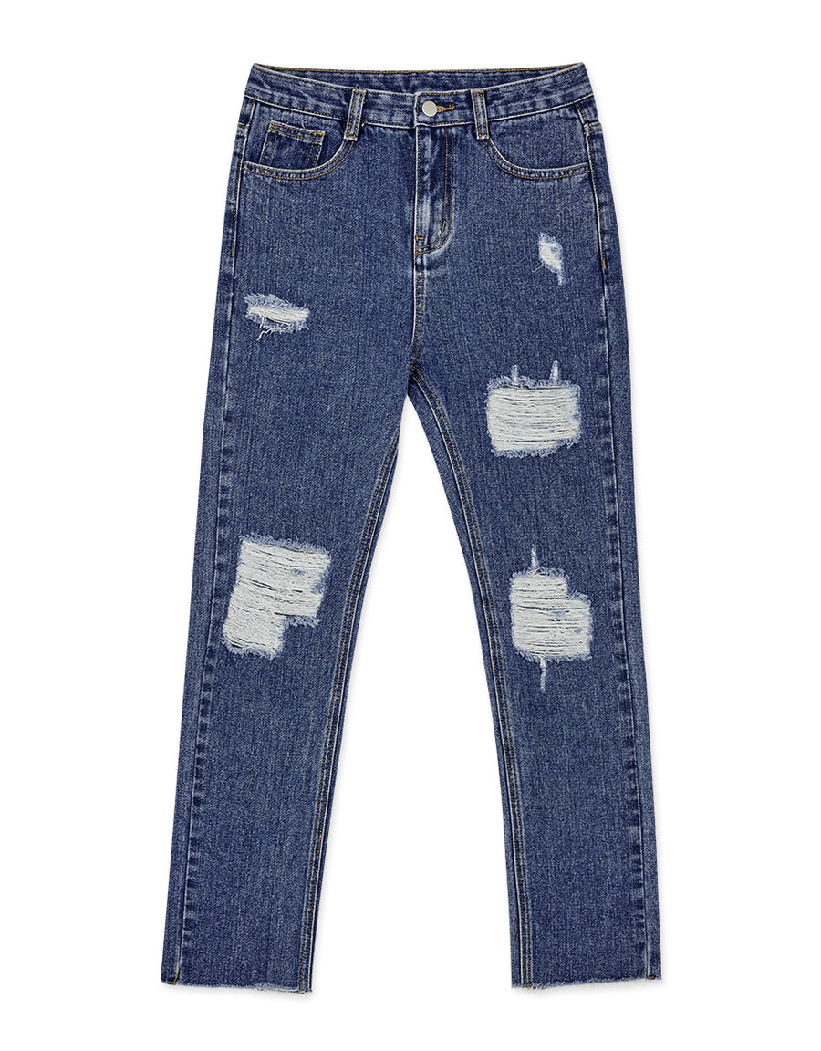 Classic Destroyed Denim Straight Jeans