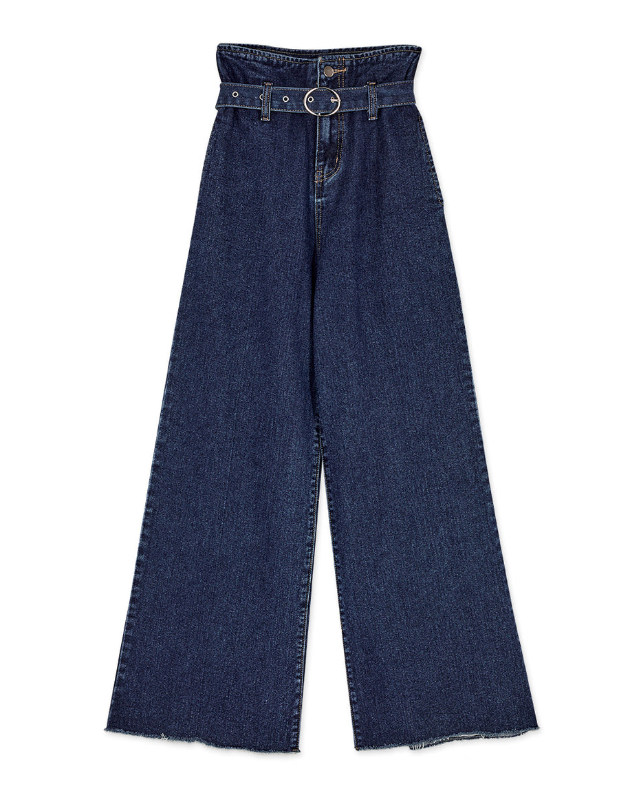 Paperbag High Waisted Belted Wide-Leg Denim Pants