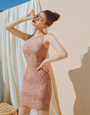 Exquisite Lace Splice Bodycon Dress (with Padding)